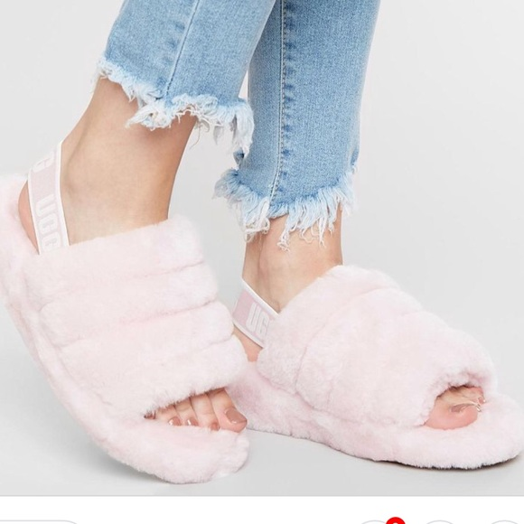 7389a7b36e3 UGG Fluff Yeah Slide Strap Slippers Seashell Pink NWT